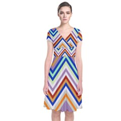 Chevron Wave Color Rainbow Triangle Waves Grey Short Sleeve Front Wrap Dress by Alisyart