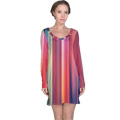 Texture Lines Vertical Lines Long Sleeve Nightdress by Simbadda