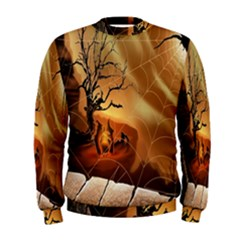 Digital Art Nature Spider Witch Spiderwebs Bricks Window Trees Fire Boiler Cliff Rock Men s Sweatshirt by Simbadda