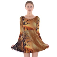 Digital Art Nature Spider Witch Spiderwebs Bricks Window Trees Fire Boiler Cliff Rock Long Sleeve Velvet Skater Dress by Simbadda