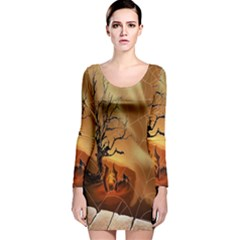 Digital Art Nature Spider Witch Spiderwebs Bricks Window Trees Fire Boiler Cliff Rock Long Sleeve Velvet Bodycon Dress by Simbadda