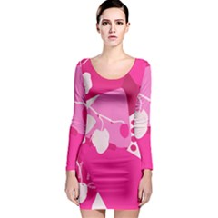 Flower Floral Leaf Circle Pink White Long Sleeve Bodycon Dress