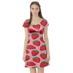 Fruit Strawbery Red Sweet Fres Short Sleeve Skater Dress