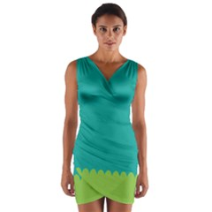 Green Blue Teal Scallop Wallpaper Wave Wrap Front Bodycon Dress