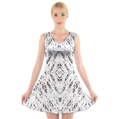 Pattern Monochrome Terrazzo V Neck Sleeveless Skater Dress by Simbadda