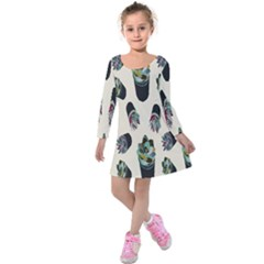 Succulent Plants Pattern Lights Kids  Long Sleeve Velvet Dress by Simbadda