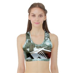 Digital Art Paint In Water Sports Bra With Border by Simbadda