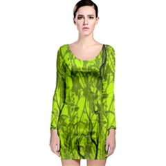 Concept Art Spider Digital Art Green Long Sleeve Bodycon Dress by Simbadda