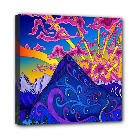 Psychedelic Colorful Lines Nature Mountain Trees Snowy Peak Moon Sun Rays Hill Road Artwork Stars Mini Canvas 8  X 8  by Simbadda