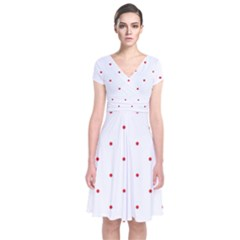 Mages Pinterest White Red Polka Dots Crafting Circle Short Sleeve Front Wrap Dress