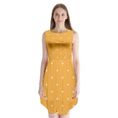 Mages Pinterest White Orange Polka Dots Crafting Sleeveless Chiffon Dress   by Alisyart