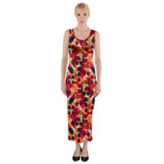 Modern Graphic Fitted Maxi Dress by Alisyart