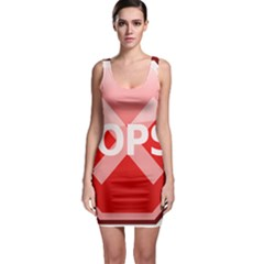 Oops Stop Sign Icon Sleeveless Bodycon Dress