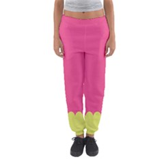 Pink Yellow Scallop Wallpaper Wave Women s Jogger Sweatpants