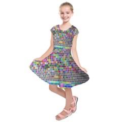 Plasma Gradient Phalanx Kids  Short Sleeve Dress by Simbadda