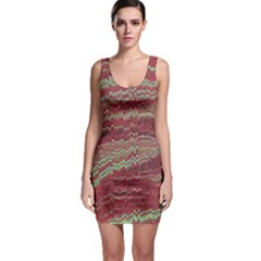 Scaly Pattern Colour Green Pink Sleeveless Bodycon Dress