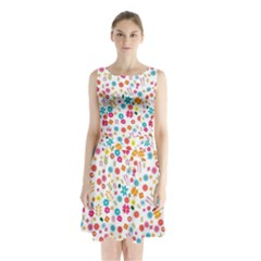 Floral Pattern Sleeveless Chiffon Waist Tie Dress by Valentinaart