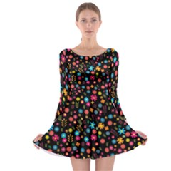 Floral Pattern Long Sleeve Skater Dress by Valentinaart