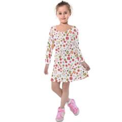 Floral Pattern Kids  Long Sleeve Velvet Dress by Valentinaart