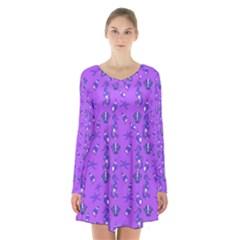 Seahorse Pattern Long Sleeve Velvet V Neck Dress by Valentinaart