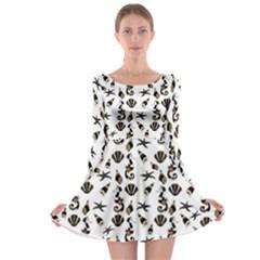 Seahorse Pattern Long Sleeve Skater Dress by Valentinaart