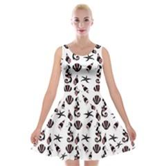 Seahorse Pattern Velvet Skater Dress by Valentinaart