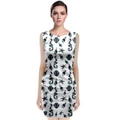 Seahorse Pattern Sleeveless Velvet Midi Dress by Valentinaart