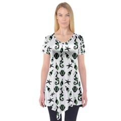 Seahorse Pattern Short Sleeve Tunic  by Valentinaart