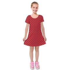 Polka Dots Kids  Short Sleeve Velvet Dress by Valentinaart