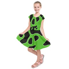 Black Green Abstract Shapes A Completely Seamless Tile Able Background Kids  Short Sleeve Dress by Simbadda