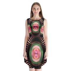 Fractal Plate Like Image In Pink Green And Other Colours Sleeveless Chiffon Dress   by Simbadda