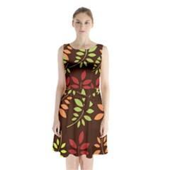 Leaves Wallpaper Pattern Seamless Autumn Colors Leaf Background Sleeveless Chiffon Waist Tie Dress by Simbadda