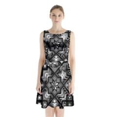 Geometric Line Art Background In Black And White Sleeveless Chiffon Waist Tie Dress by Simbadda