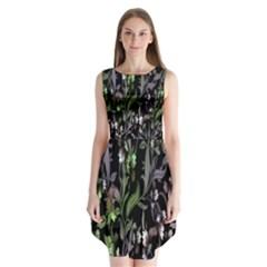Floral Pattern Background Sleeveless Chiffon Dress   by Simbadda