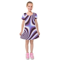 Fractal Background With Curves Created From Checkboard Kids  Short Sleeve Velvet Dress by Simbadda