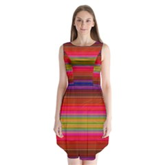 Fiestal Stripe Bright Colorful Neon Stripes Background Sleeveless Chiffon Dress   by Simbadda