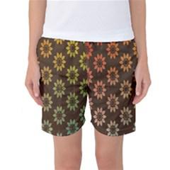 Grunge Brown Flower Background Pattern Women s Basketball Shorts by Simbadda