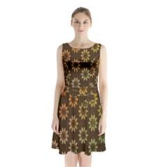 Grunge Brown Flower Background Pattern Sleeveless Chiffon Waist Tie Dress by Simbadda