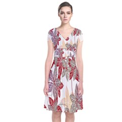 Floral Pattern Background Short Sleeve Front Wrap Dress by Simbadda