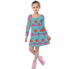 Tulips Floral Background Pattern Kids  Long Sleeve Velvet Dress by Simbadda