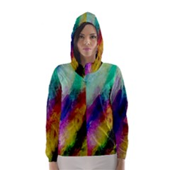 Colorful Abstract Paint Splats Background Hooded Wind Breaker (women) by Simbadda