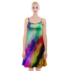 Colorful Abstract Paint Splats Background Spaghetti Strap Velvet Dress