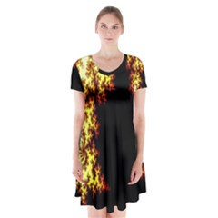A Fractal Image Short Sleeve V Neck Flare Dress by Simbadda