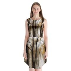 Fall Forest Artistic Background Sleeveless Chiffon Dress   by Simbadda
