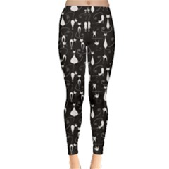 Black White Cats On Black Pattern For Your Design Leggings by CoolDesigns