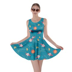 Blue Space With Cute Rocket Skater Dress by CoolDesigns