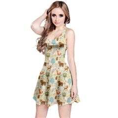 Colorful Colorful Woodland Animals Pattern Sleeveless Dress