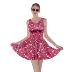 Hot Pink Japanese Cherry Blossom Tree Pattern Skater Dress