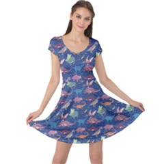 Blue Dinosaur Stylish Pattern Cap Sleeve Dress by CoolDesigns