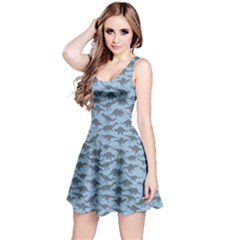 Light Blue A Pattern With Dinosaur Silhouettes Sleeveless Dress